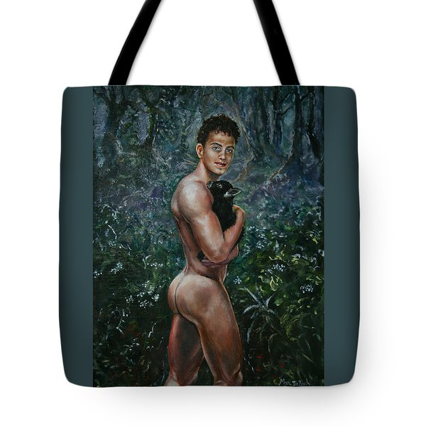 Boy With Goat Tote Bag