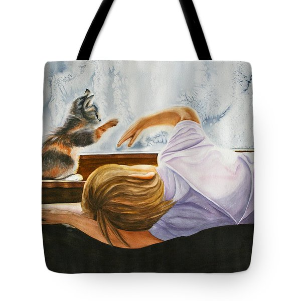Boy With Kitten Tote Bag