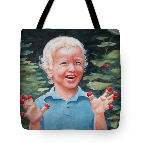 Boy With Raspberries Tote Bag by Marilyn Jacobson