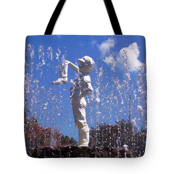 Tote Bag featuring the photograph Boy With The Boot by Shawna Rowe