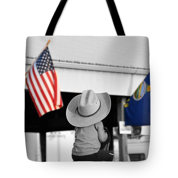 Boy With Two Flags Tote Bag