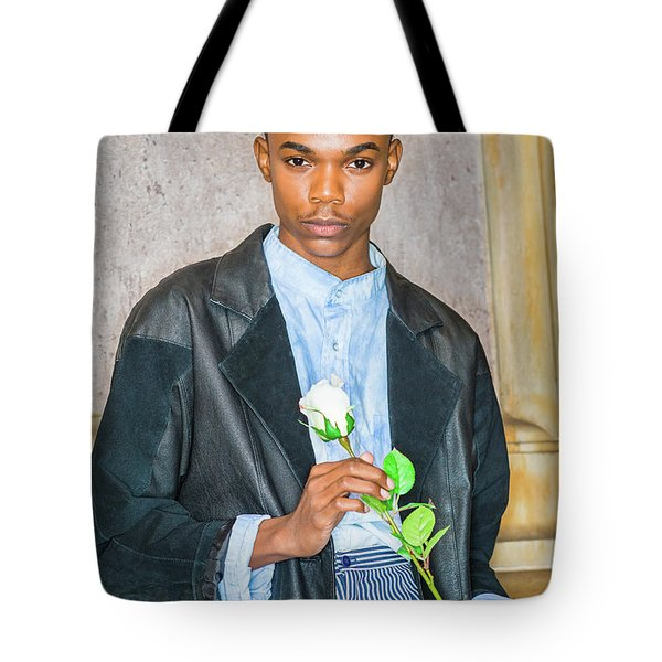 Boy With White Rose 15042618 Tote Bag