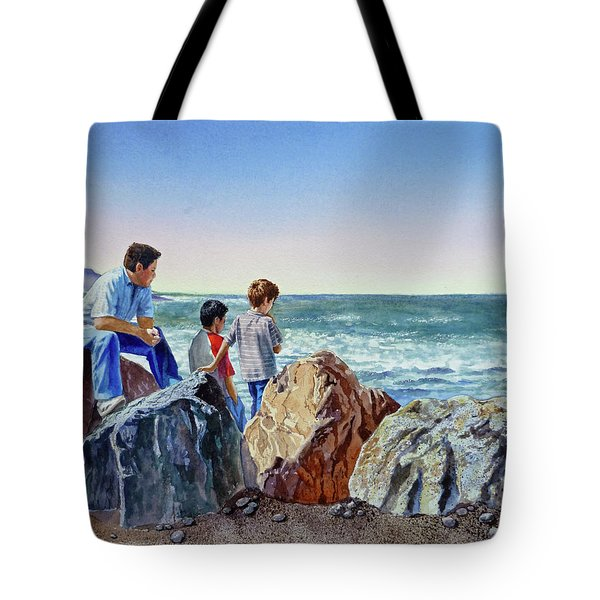 Boys And The Ocean Tote Bag