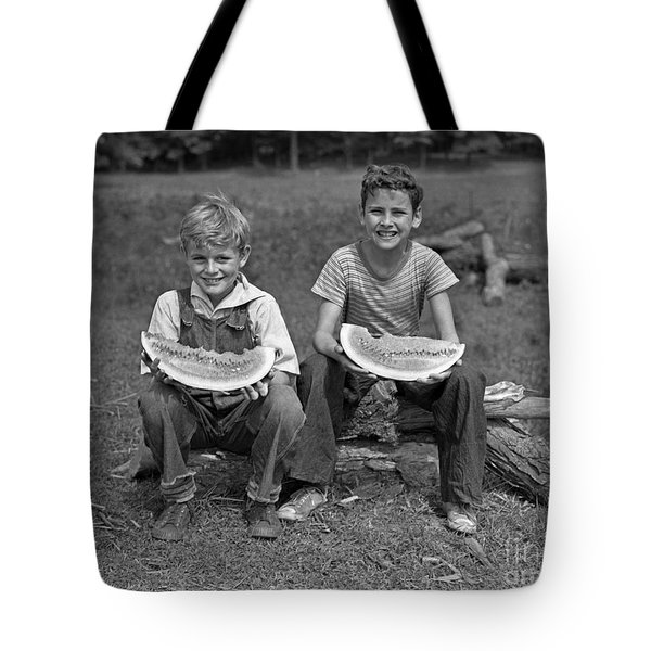 Boys Eating Watermelons, C.1940s Tote Bag by H. Armstrong Roberts/ClassicStock