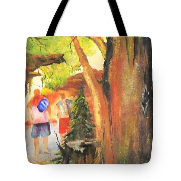Boys In The Woods Tote Bag