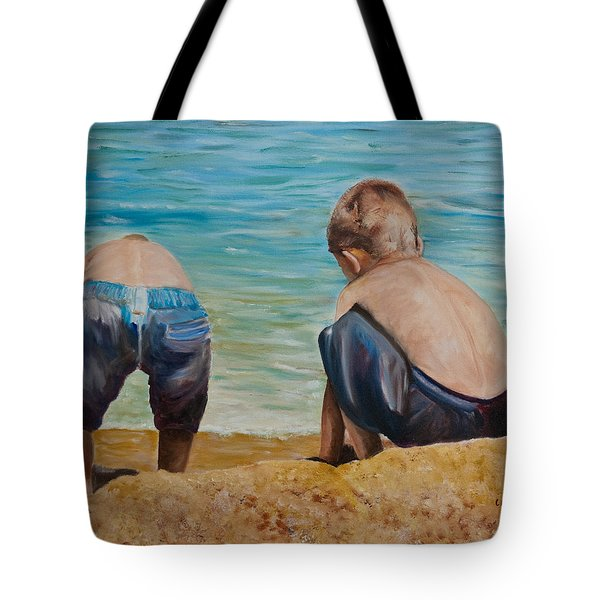Boys On A Beach Tote Bag