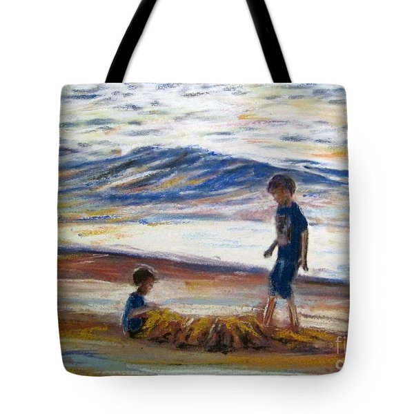 Boys Playing At The Beach Tote Bag