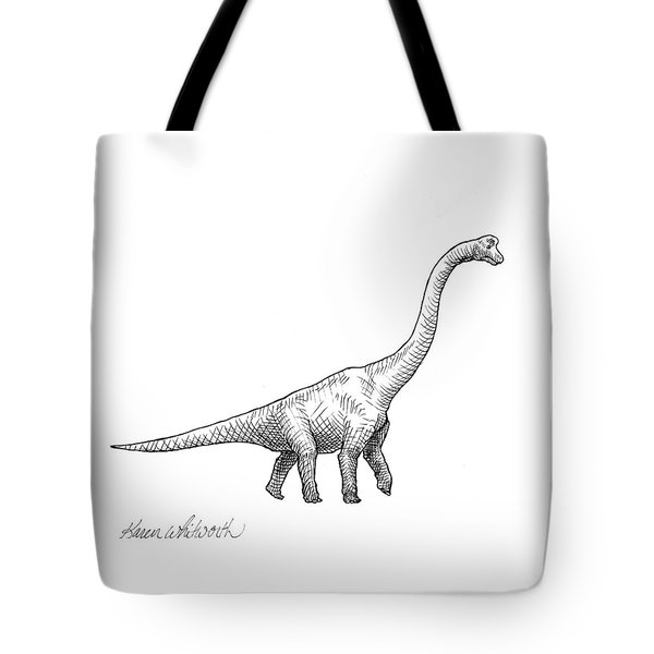 Brachiosaurus Black And White Dinosaur Drawing  Tote Bag by Karen Whitworth