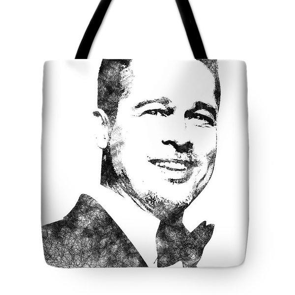 Brad Pitt Bw Portrait Tote Bag by Mihaela Pater