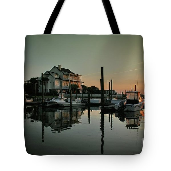 Tote Bag featuring the photograph Bradley Creek At Dawn by Phil Mancuso