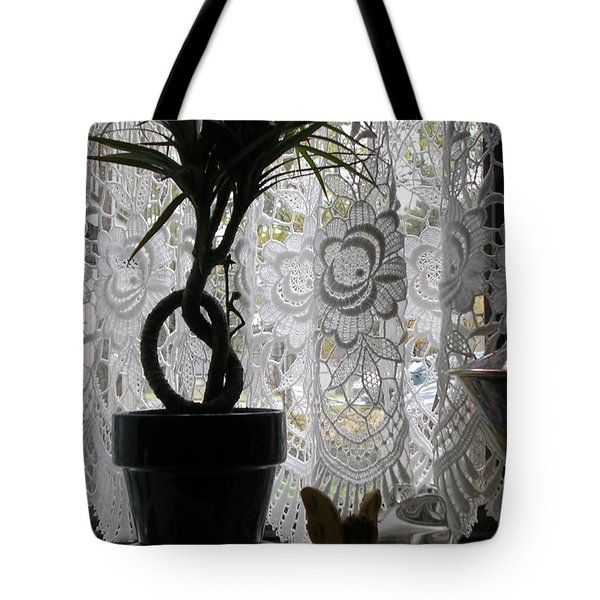 Braided Dracena On Sill Tote Bag