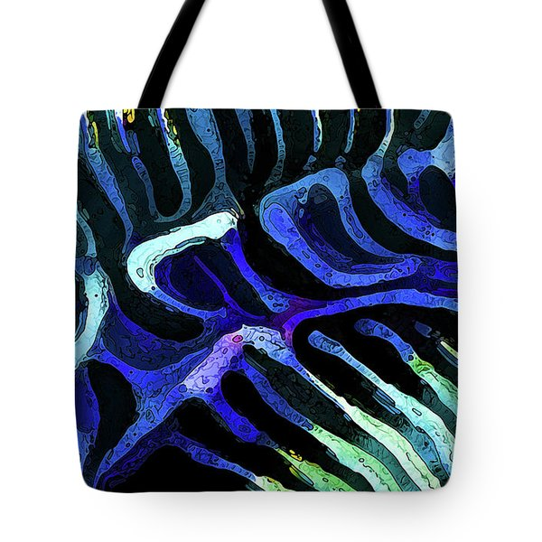 Brain Coral Abstract 3 In Blue Tote Bag