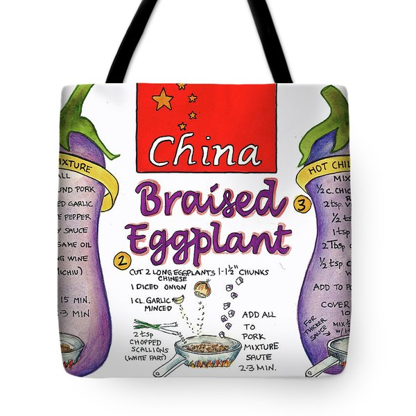 Tote Bag featuring the painting Braised Eggplant by Diane Fujimoto