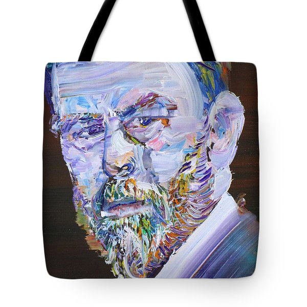 Tote Bag featuring the painting Bram Stoker - Oil Portrait by Fabrizio Cassetta