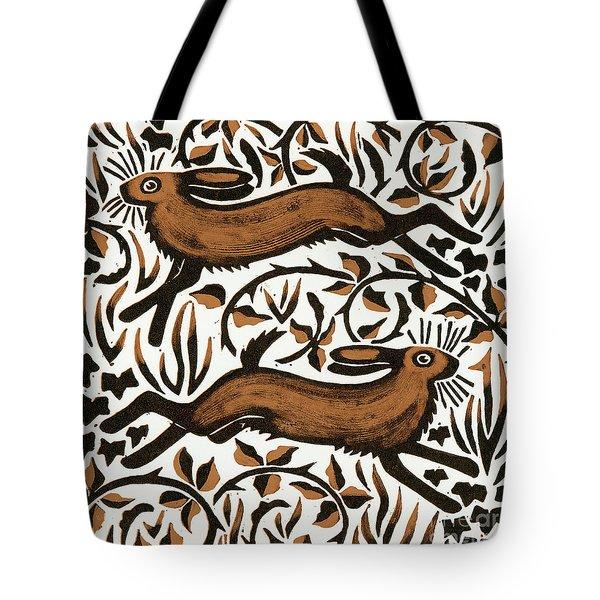 Bramble Hares Tote Bag by Nat Morley