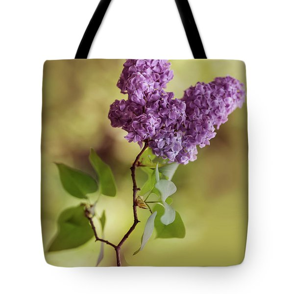 Tote Bag featuring the photograph Branch Of Fresh Violet Lilac by Jaroslaw Blaminsky