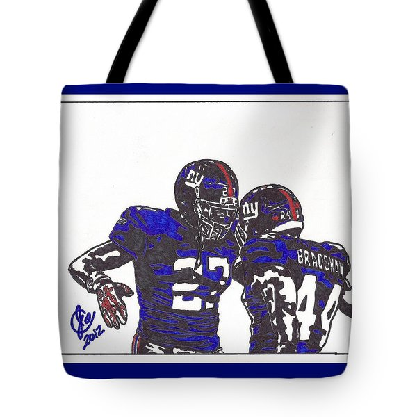 Tote Bag featuring the drawing Brandon Jacobs And Ahmad Bradshaw by Jeremiah Colley