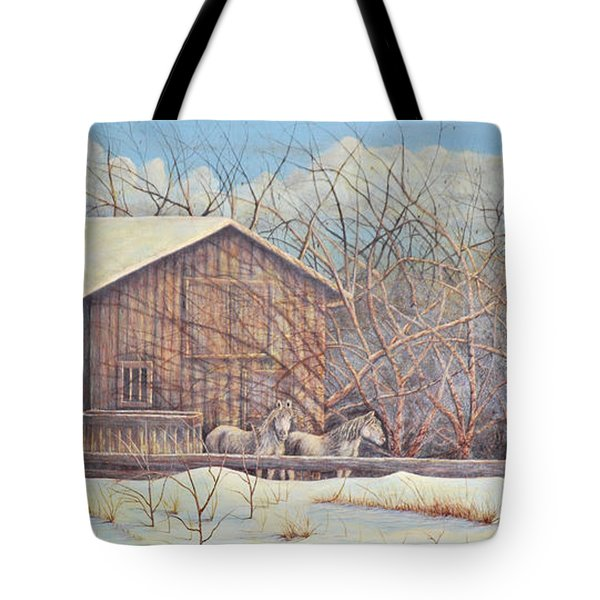 Tote Bag featuring the painting Brandon's Horses by Dusty Bahnson