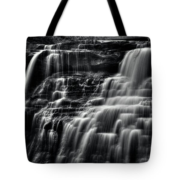 Brandywine Falls At Cuyahoga Valley National Park B W Tote Bag
