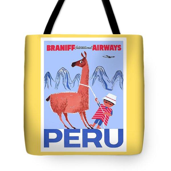 Braniff Airways Peru Child And Llama Travel Poster Tote Bag