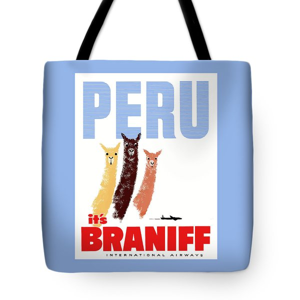 Braniff Airways Peru Llamas Travel Poster Tote Bag