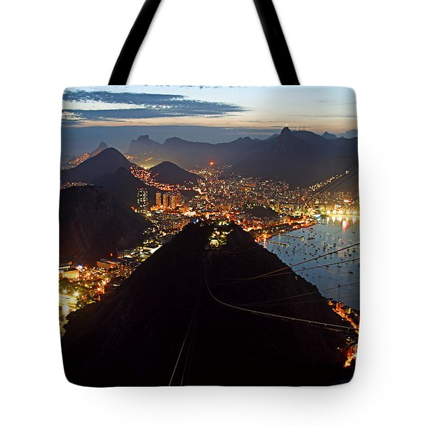 Tote Bag featuring the photograph Brasil,rio De Janeiro,pao De Acucar,viewpoint,panoramic View,copacabana At Night by Juergen Held