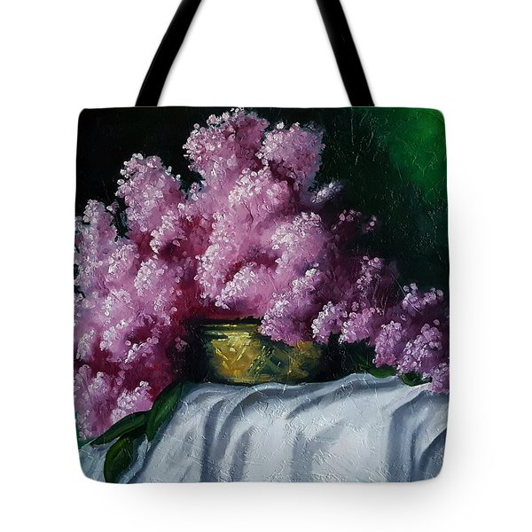 Brass Bowl And Flowers Tote Bag