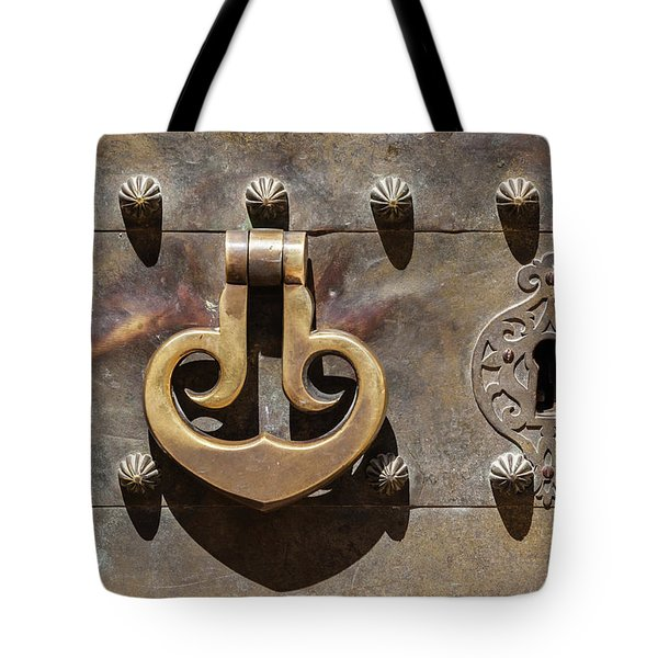 Tote Bag featuring the photograph Brass Castle Knocker by David Letts