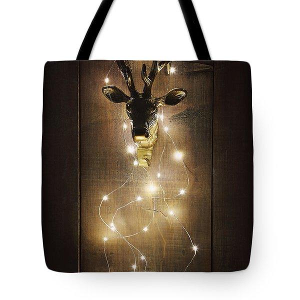 Brass Deer Head With Christmas Lights Tote Bag