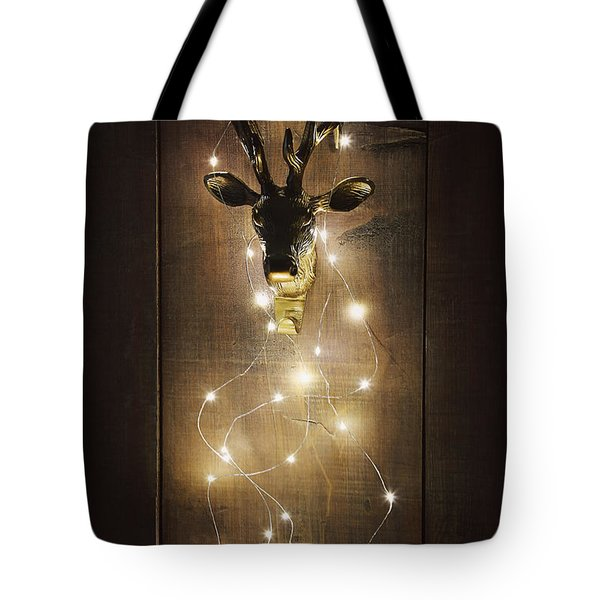 Brass Deer Head With Christmas Lights Tote Bag