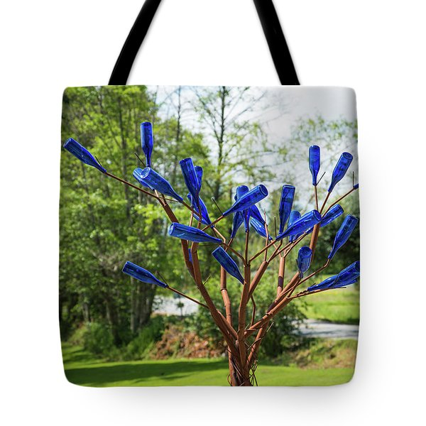 Brass Tree, Blue Bottle Leaves Tote Bag