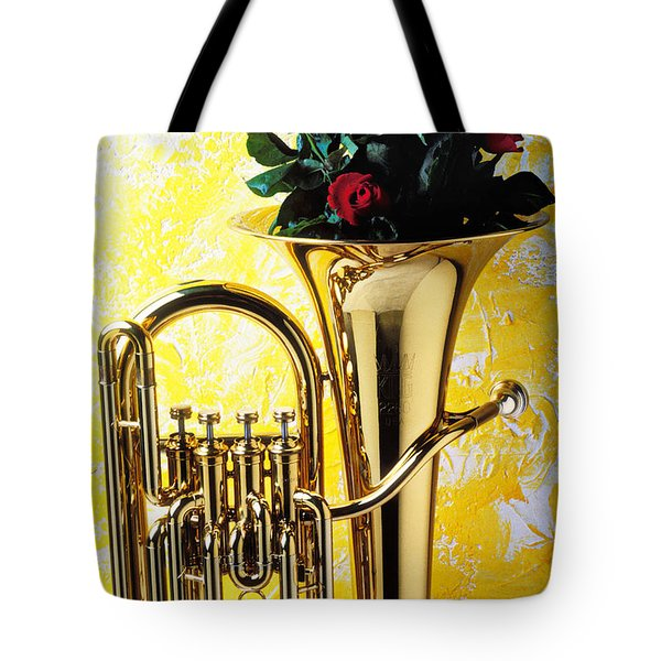 Brass Tuba With Red Roses Tote Bag by Garry Gay