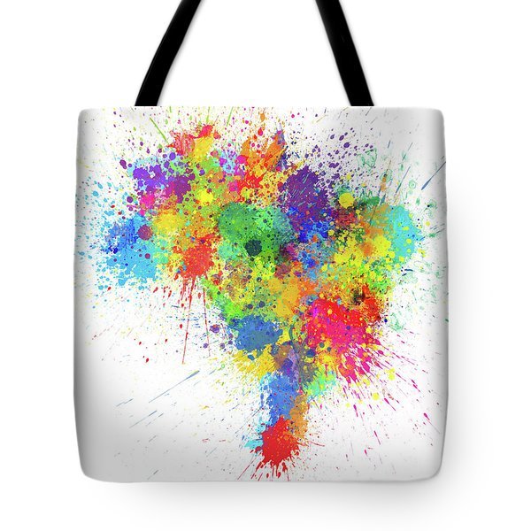 Brazil Paint Splashes Map Tote Bag