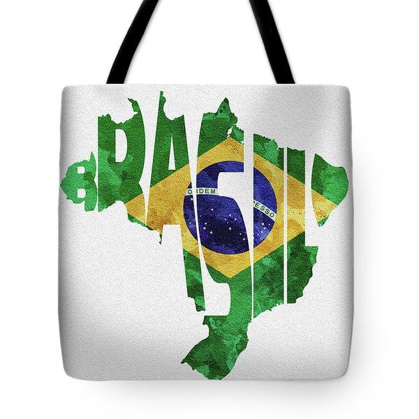 Brazil Typographic Map Flag Tote Bag