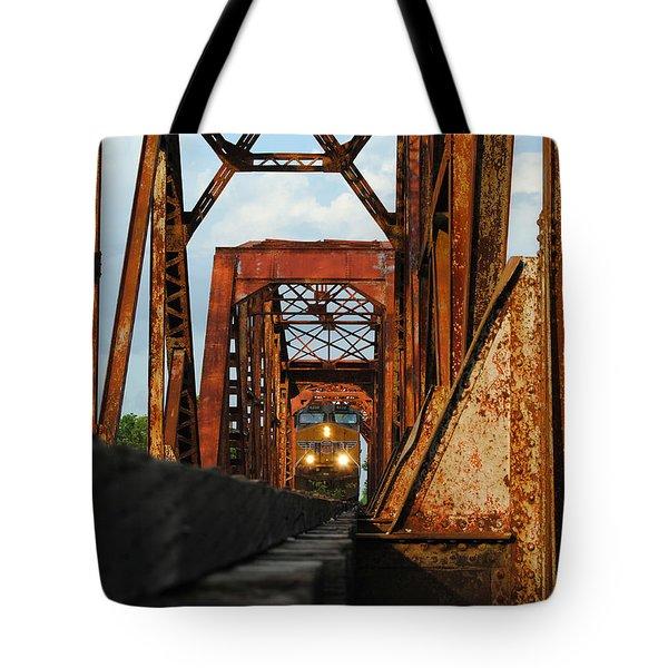 Brazos River Railroad Bridge Tote Bag