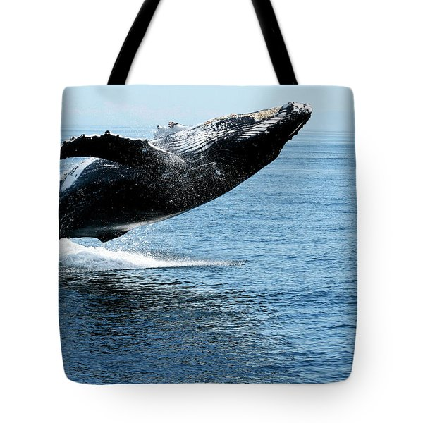 Breaching Humpback Whales Happy-2 Tote Bag