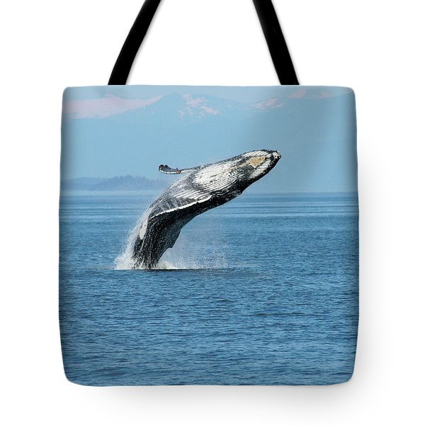 Breaching Humpback Whales Happy-3 Tote Bag