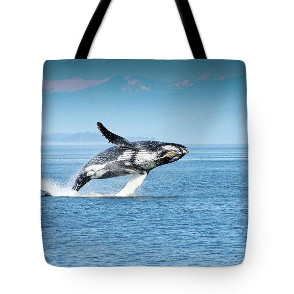Breaching Humpback Whales Happy-4 Tote Bag