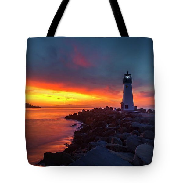 Break Of Day At Walton Lighthouse Tote Bag