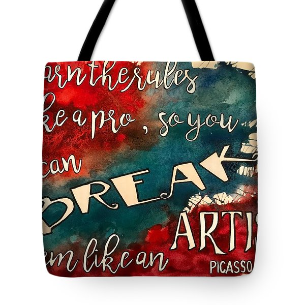 Tote Bag featuring the painting Break The Rules by Diane Fujimoto