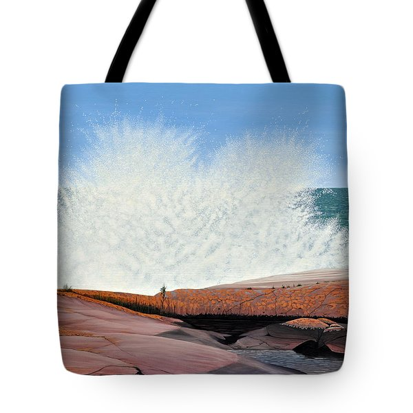 Tote Bag featuring the painting Breakers On Georgian Bay by Kenneth M  Kirsch