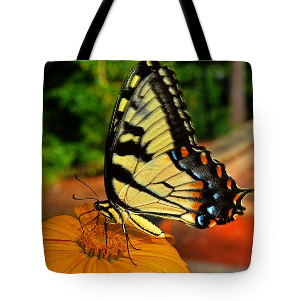 Tote Bag featuring the photograph Breakfast At The Gardens - Swallowtail Butterfly 005 by George Bostian