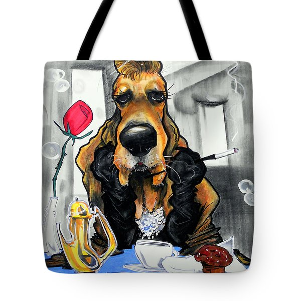 Breakfast At Tiffany's Basset Hound Caricature Art Print Tote Bag