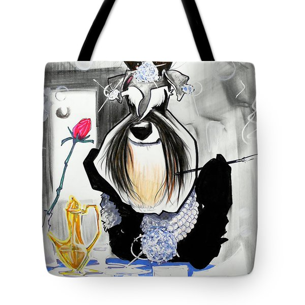 Breakfast At Tiffany's Schnauzer Caricature Tote Bag
