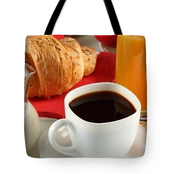 Breakfast Coffee Milk Orange Juice Croissant Apple Cup White Saucer Jug 75192 300x450 Tote Bag