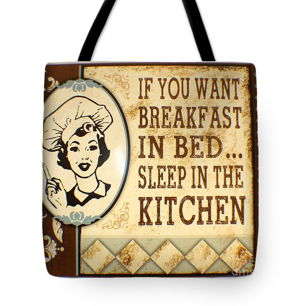 Tote Bag featuring the painting Breakfast In Bed by Pg Reproductions