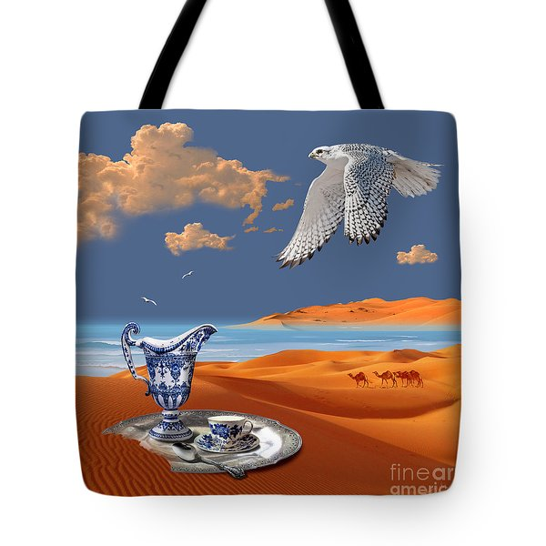 Tote Bag featuring the digital art Breakfast With White Falcon by Alexa Szlavics