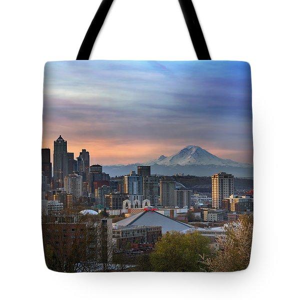 Breaking Dawn In Seattle Tote Bag