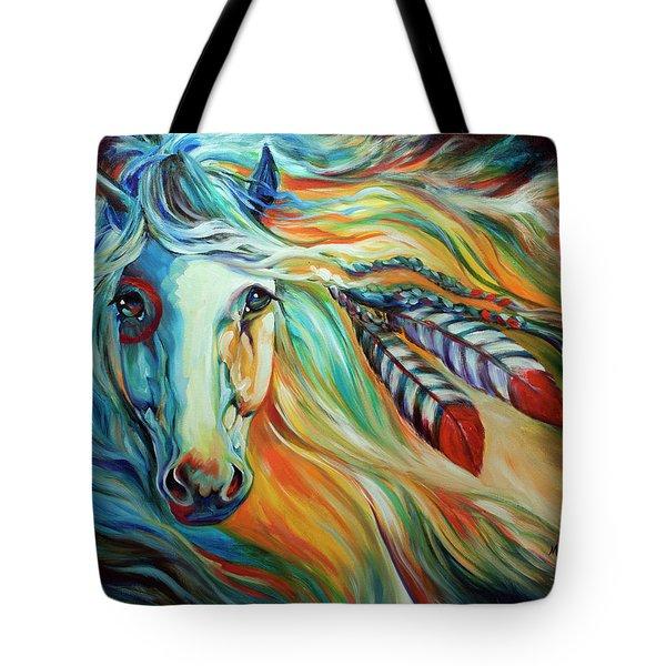 Breaking Dawn Indian War Horse Tote Bag