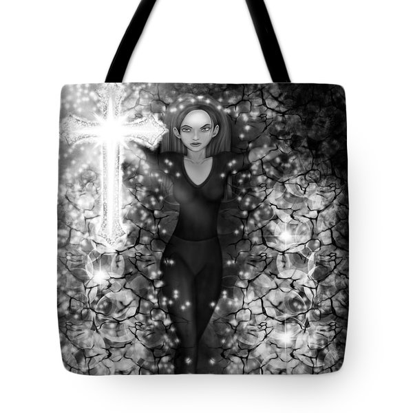 Breaking Through Darkness - Black And White Fantasy Art Tote Bag